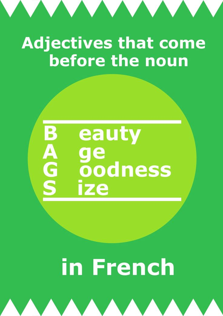 BAGS - Adjectives that come before the noun in French.