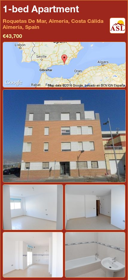 1-bed Apartment in Roquetas De Mar, Almería, Costa Cálida Almería, Spain ►€43,700 #PropertyForSaleInSpain