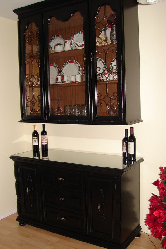 Repurpose an old buffet or china hutch into a wine bar