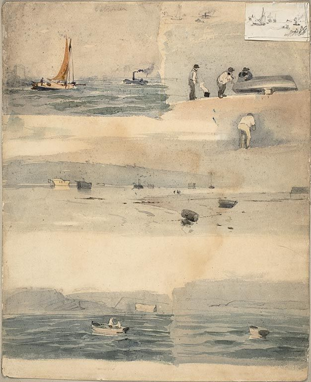 Attributed to Édouard Manet, French, 1832-1883, Sketches of Marine Scenes, n.d. Watercolor and graphite on off-white wove paper, 325 x 265 mm.
