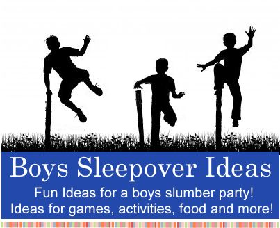 Boys Sleepover Ideas .. lots of fun ideas ... my favorite ... Silly String War ..Divide the boys into 2 teams and give them 30 minutes to build a fort.  Give them supplies such as old cardboard boxes, sheets and a roll of duct tape.  Then give each team several bottles of silly string and let the war begin.  The team that is the least covered in string when it is over wins!
