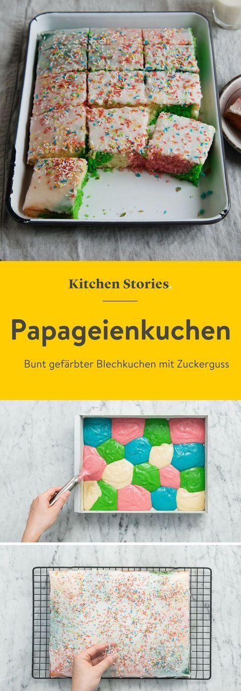 kunterbunter papageienkuchen vom blech mit zuckerguss und streuseln ideal fur – Kuchen Kindergeburtstag