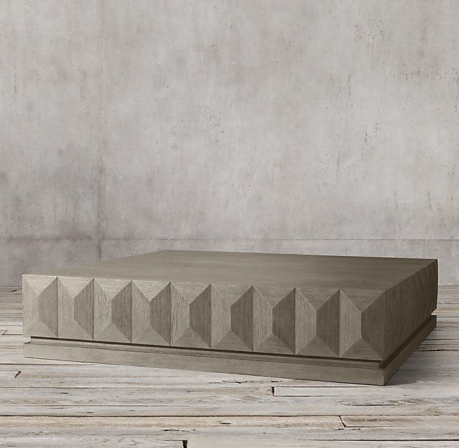 Geometric Faceted Large Square Coffee Table Large Square Coffee