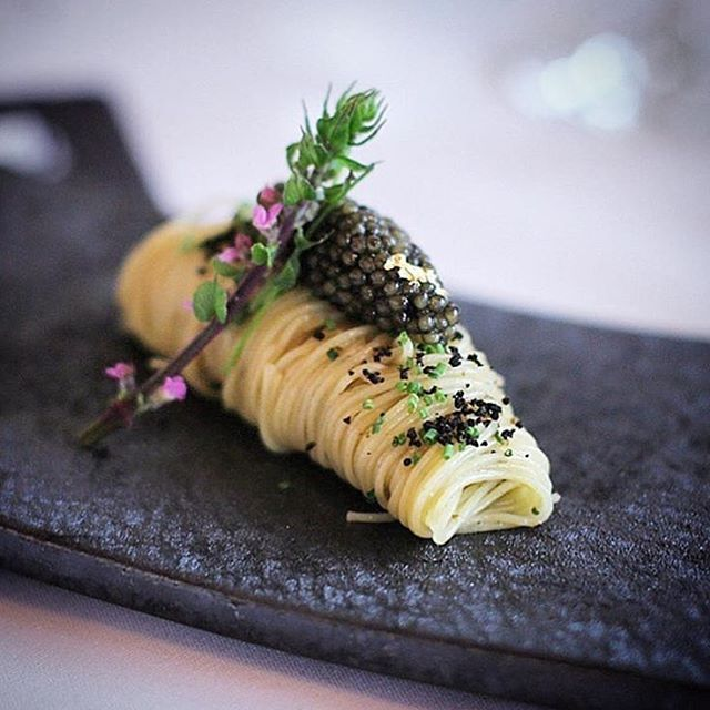 Cold angel hair pasta with caviar and black truffle via @cookniche by @lesamisrestaurant This looks like a perfect hot day lunch with a nice glass of vino! #vegetarian