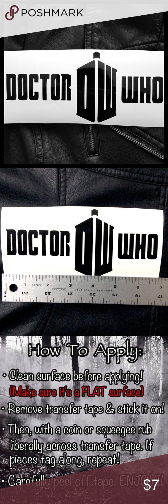 "Doctor Who Tardis Vinyl Decal Sticker •Buy 1 Get 2 FREE Mini Decals🌹| CUSTOM COLOR/ANY SIZE ONLY ON ORDERS OF $8+ Or you can bundle cellphone size decal from ""2 for $7"" listings *approx. width x height* •Doctor Who in BLACK vinyl decal sticker. Works great for cars, windows, laptops, iPads, iPhones, skateboards, Bedroom Wall, fridge, notebook, etc. ✅Guaranteed to be water proof, heat resistance & UV fade resistance. •Homemade by me! •Universe/Britain/Space Hot Topic Accessories"