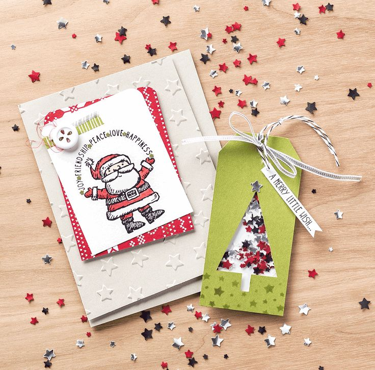 Create your own festive confetti with the Stars Confetti punch and your favorite colors of card stock.: Confetti Stars, Christmas Cards, Stars Punch, Cards Ideas, Trees Punch, Stampin Up, Stampin Christmas, 2014 Holidays, Holidays Catalog