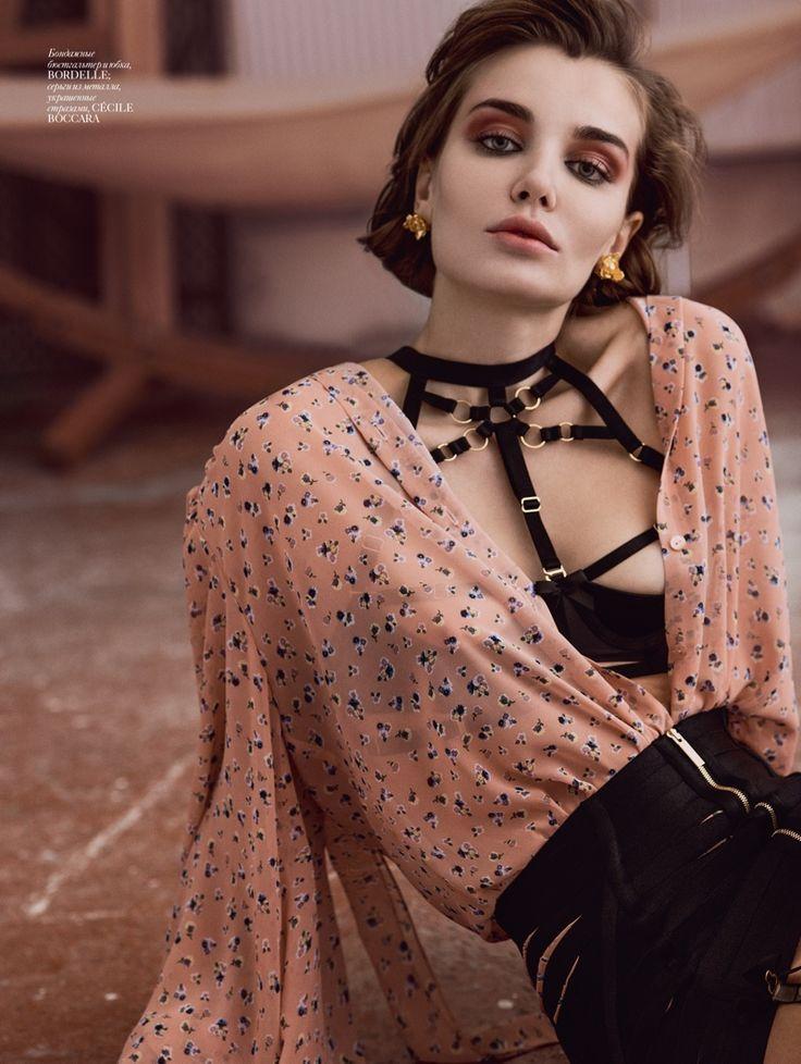 Daria Konovalova wears bandage underwear and printed shirt for Vogue Magazine Ukraine December 2016 issue
