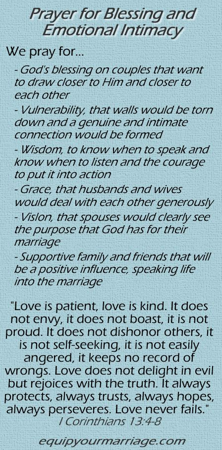 Marriage Prayer for Blessing and Emotional Intimacy - I Corinthians 13:4-8