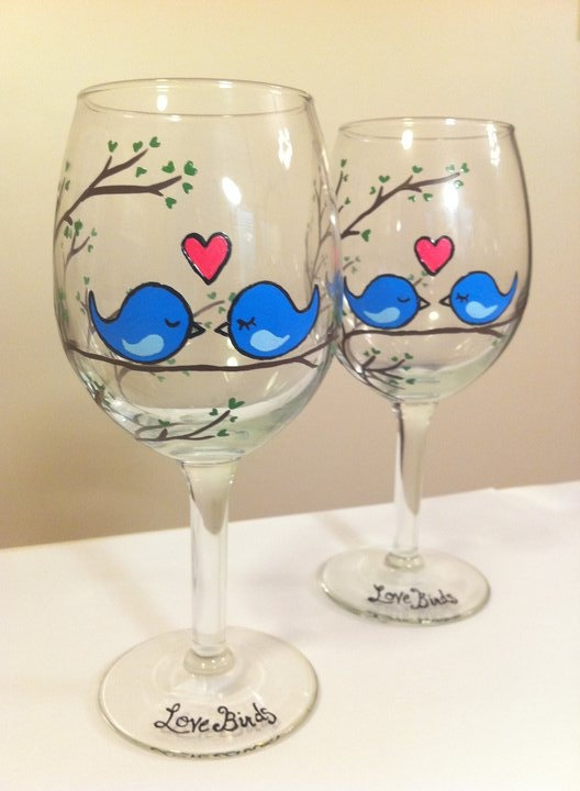 """Love Birds"" Hand-Painted Wine Glasses. $40.00, via Etsy."