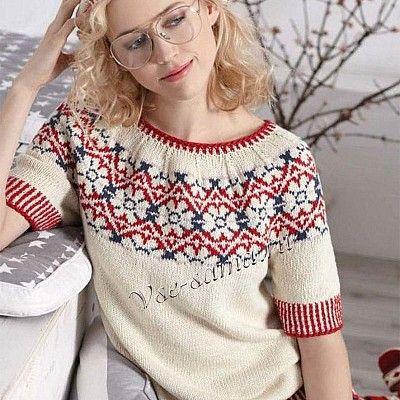 Немного стиля ретро никогда не помешает! В выразительных моделях, как, к примеру, пуловер, украшенный жаккардовыми цветами, и берет с таким же узором, так легко предстать во всей красе!