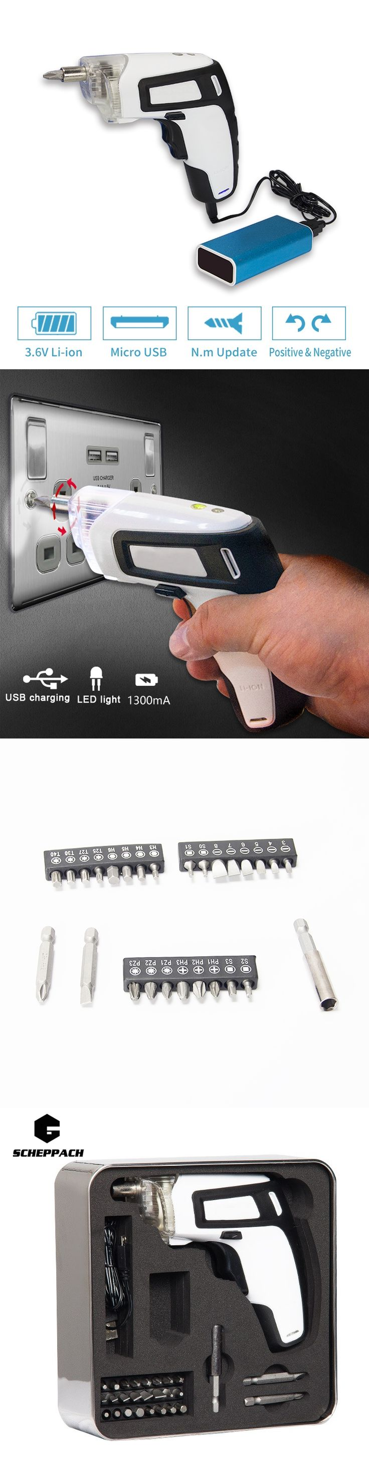 Crazy power USB charging 3.6V lithium battery cordless screwdriver Electric Screwdriver Mini drill Household DIY With LED