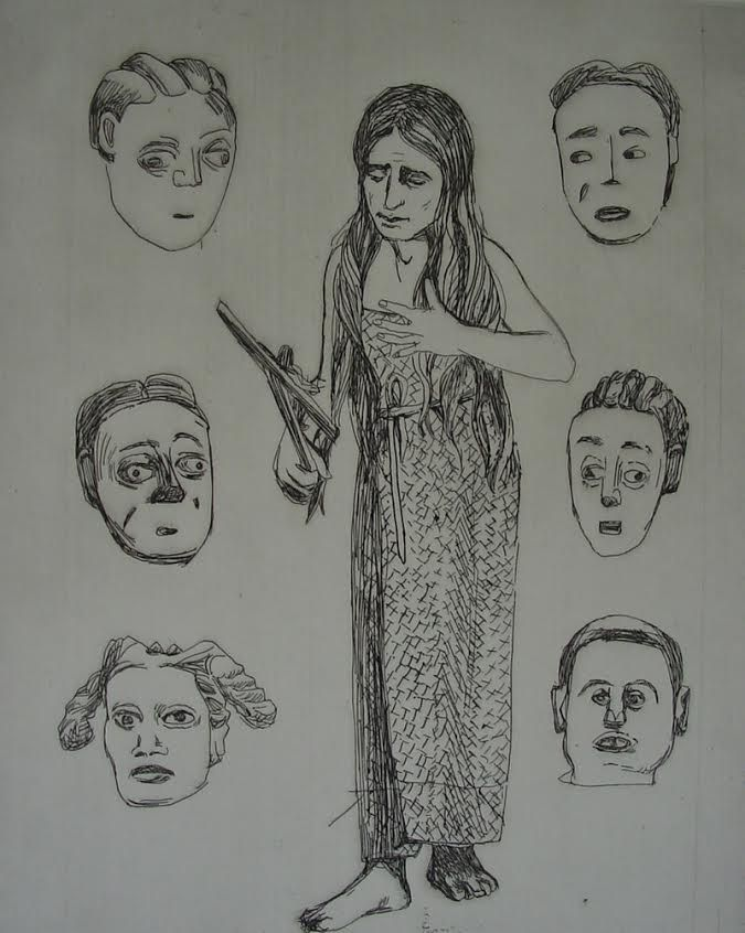 Claudette Schreuders, 'Untitled (Woman & 6 faces), 2001, Drypoint.