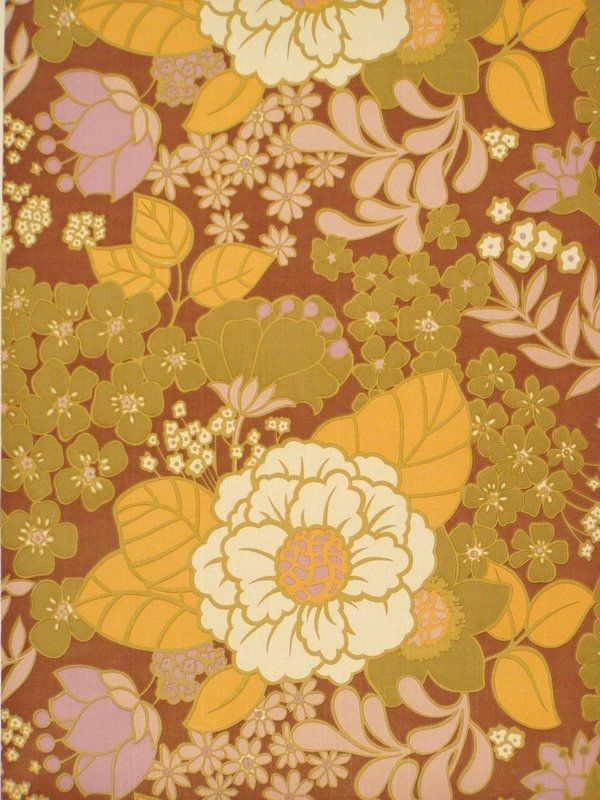 "Original retro vinyl wallpaper with floral design in bright colors. Design wallpaper ""Denver"" produced by Coloroll."
