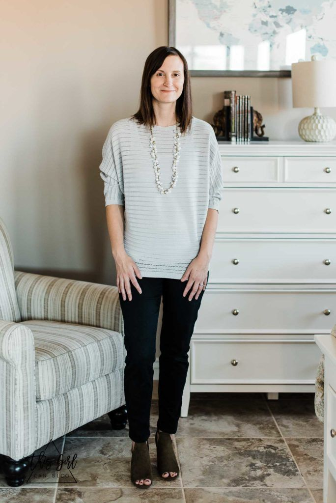 Stitch Fix   Pants: Liverpool Elizabeth Super Skinny Jean, Top: DJ & Juju Congo Stitch Detail Pullover, Bootie: BC Footwear Set-Me-Free Lace-Up Peep Toe Bootie   Necklace: Chloe + IsabelPearl + Crystal Drops Long Necklace