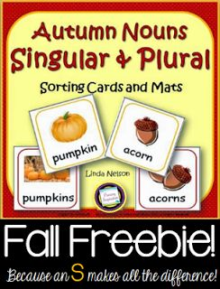 """Plural Nouns for Autumn  Hi Teaching Friends If some of your little learners haven't quite made the connection that adding an -s to most nouns makes them a plural of the base word (you know they're tediously working out """"batssss"""") try this set of plural noun cards for fall. As they match pairs play memory games and sort singular from plural forms this might be just what they need to turn the lightbulb on!  Happy Teaching!  Autumn nouns plural nouns PreK-2 Primary Inspiration by Linda Nelson"""