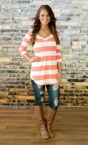 A New Day Coral Stripe Blouse CLEARANCE