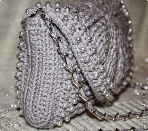 Cartera crochet con perlas, broche y cadena   Crochet y dos agujas