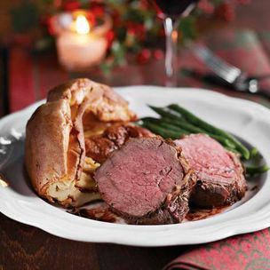 Roast Beef & Yorkies....One of my favorite dinners!  Just add brussels, carrots, roast potatoes and a bottle of fine red.......perfect!