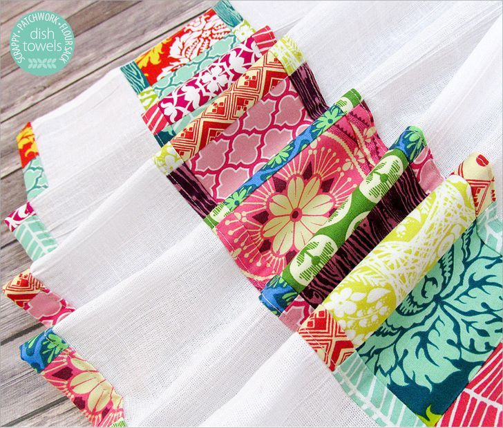 Scrappy Patchwork Flour Sack Dish Towels   Sew4Home