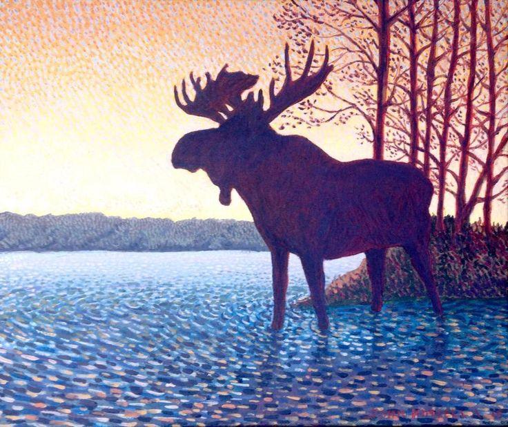 Twilight Moose, Algonquin 2015 On display at the Mad Musher  http://www.madmusher.com  @AlgonquinArt @Mark_Sanche #Art