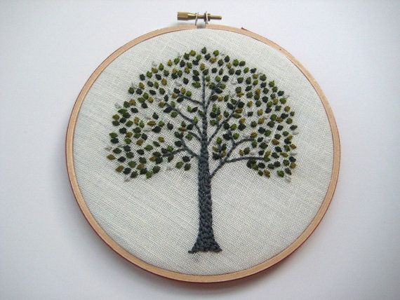 Evergreen Tree - Hand Embroidered Wall Wear in 6 inch wood hoop.  Green & Silver. $50.00, via Etsy.