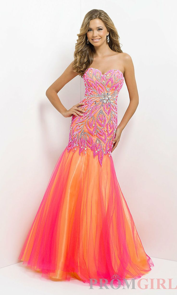multi color prom dresses | ... Dresses, Sexy Evening Gowns - PromGirl: Long Strapless Multi Color