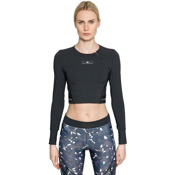 Adidas By Stella Mccartney Women Training Climachill Cropped Top (159 AUD) ❤ liked on Polyvore featuring activewear, activewear tops, black, logo sportswear, adidas, adidas activewear and adidas sportswear