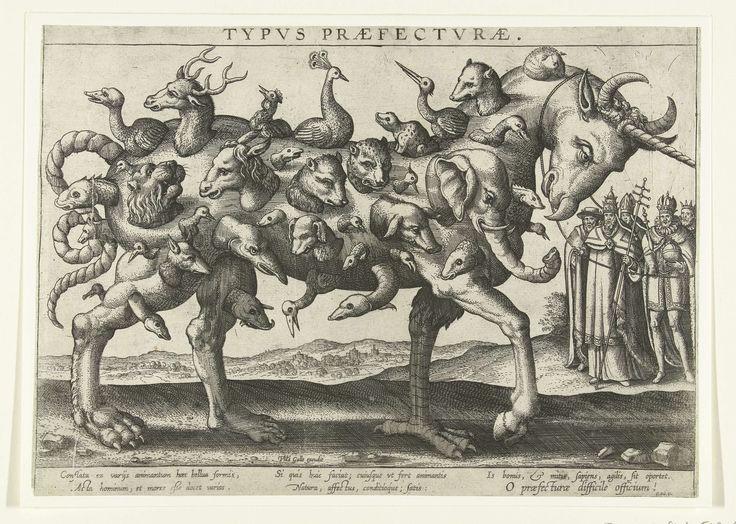 Allegorie op de moeilijkheid van het besturen, 1578, Pieter van der Borcht (I), Philips Galle, Cornelis Kiliaan, 1578