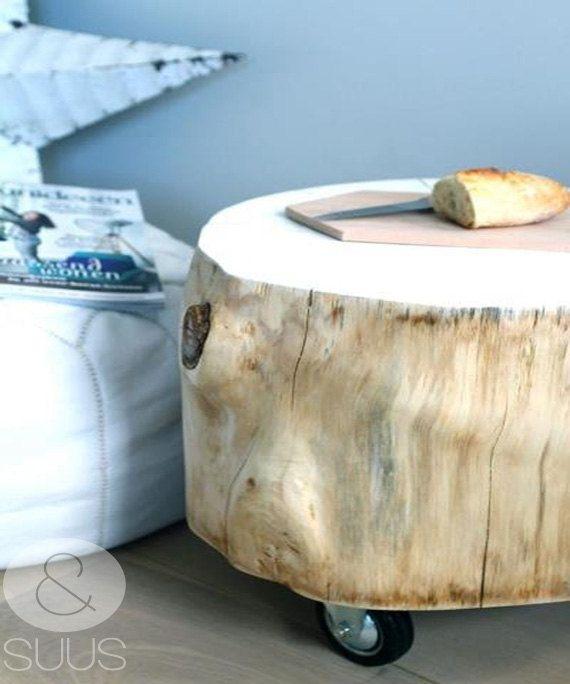 Gemaakt voor & SUUS, boomstam tafeltje met wieltjes by ensuus on Etsy, €119.95