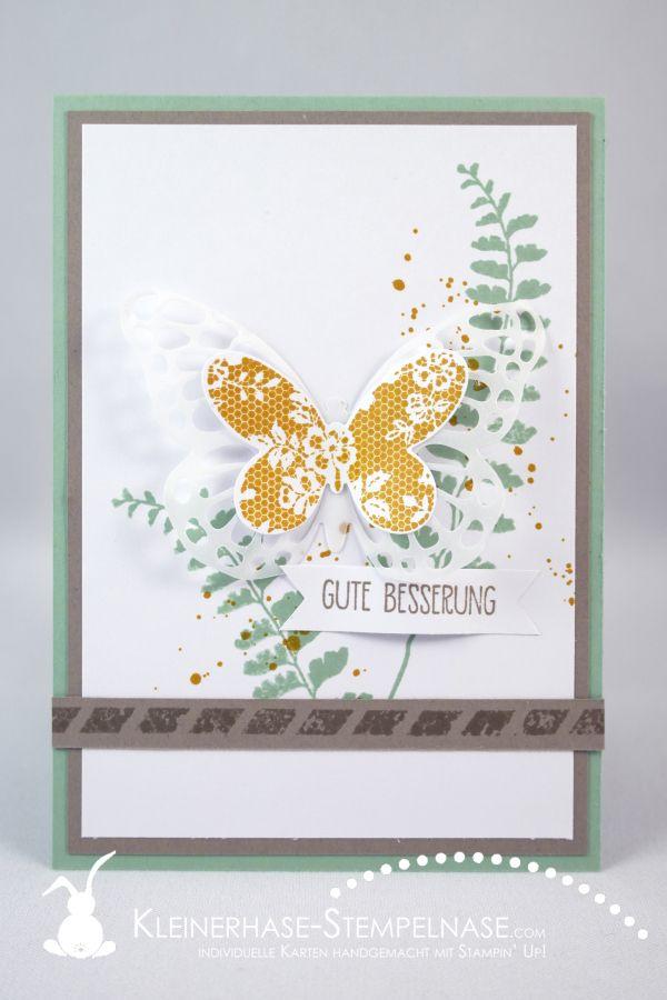 Stampin Up Schmetterlingsgruß Schmetterlinge Eins für Alles Gute Besserung