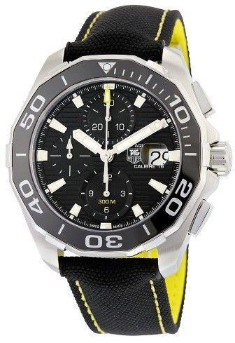 Tag Heuer Aquaracer Chronograph Black Dial BlackTextile Men's Watch CAY211A.FC6361