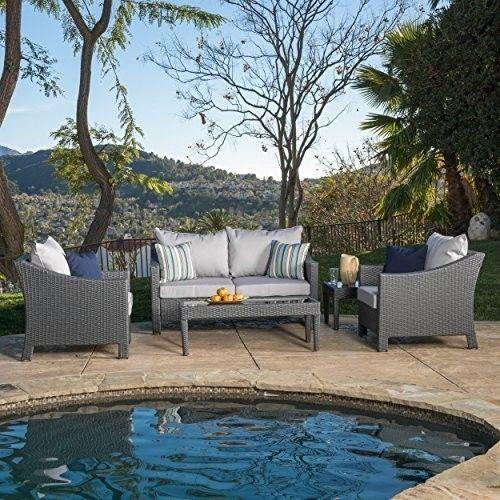 Garden Furniture Wicker Patio Caspian Grey 4 piece Outdoor Chat Set *BRAND NEW* #GardenFurnitureWickerPatio