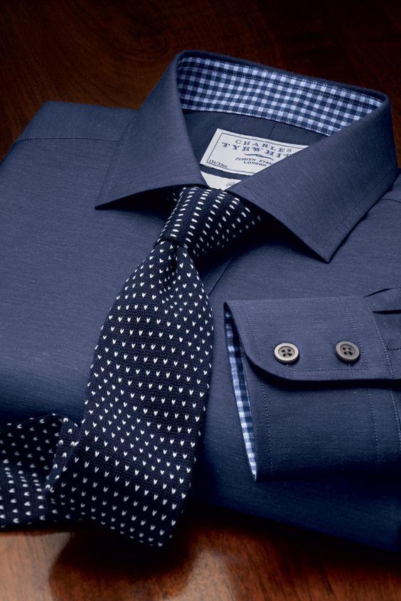 Navy and White chevron knitted handmade slim tie.:
