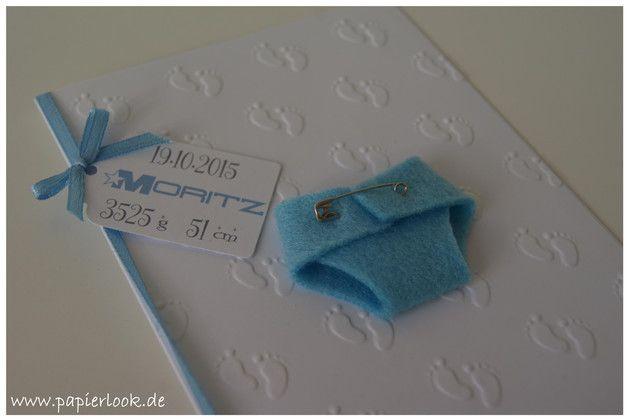 """Baby- & Geburtskarten - ~ Geburtsanzeige """"Windel"""" (Farbwunsch) ~ - ein Designerstück von papierlook bei DaWanda"""