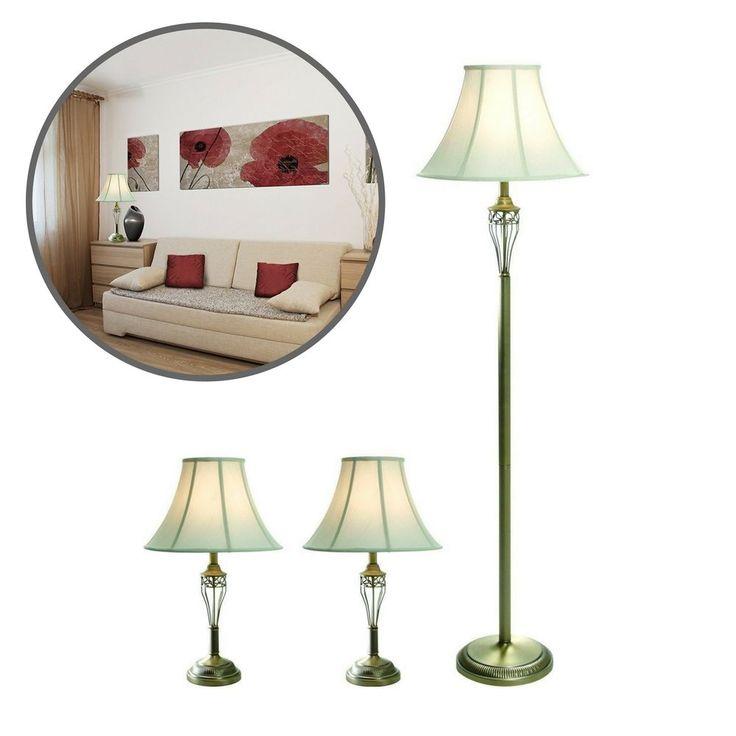 Living Room Lamp Set 3 Floor Pair Home Lighting Table Vintage Elegant Piece