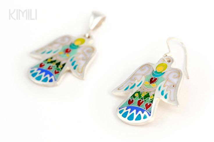 A wonderful set of Angels, Earrings and Pendants with Cloisonné  Enamel in Silver by KimiliDesign on Etsy