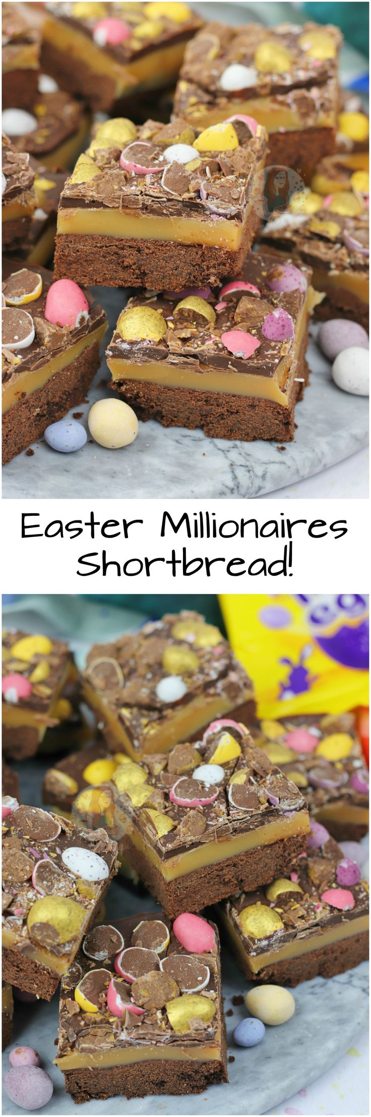 Buttery Chocolate Shortbread, Homemade Caramel, Milk Chocolate, and Easter Treats make the most delicious Easter Chocolate Millionaires Shortbread!