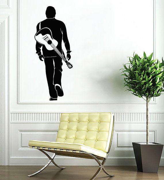Man with Guitar Decal - Musician Wall Decals Home Decor Vinyl Art Wall Decor Bedroom Music Studio Sound Recording Studio Decor SV5493
