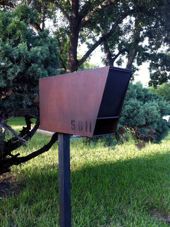 Mailbox steel modern urban industrial chic contemporary steampunk decor  handmade custom welded metal steel sculpture new home $300