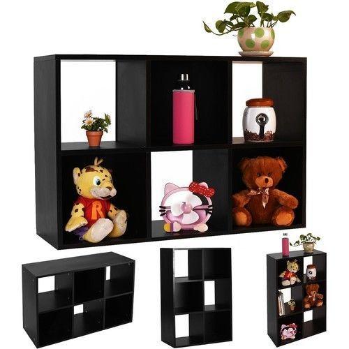 6-Cube Bookcase Organizer Storage Shelf Home Office Furniture Black NEW #1