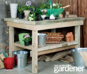 Create a Unique Place to Grow With These Free Potting Bench Plans: Flaming Petal's Free Potting Bench Plan