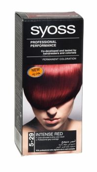 Syoss Professional Permanent Hair Colour 5-29 Intense Red Co-developed and tested by hairdressers and colorists. Professional grey coverage. Syoss, the permamnent coloration in professional quality for home usage - with color pigment mix and nutri complex. Contains caring color cream, application bottle with developer milk, sachet with color-seal conditioner, instruction leaflet and gloves. Syoss intense red is recommended for dark blonde to medium brown hair.