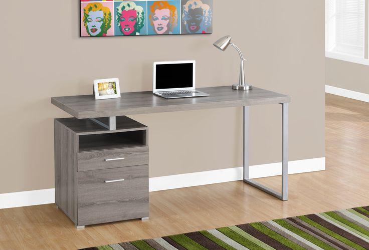 "Computer Desk - 60""L / Dark Taupe / Silver Metal"