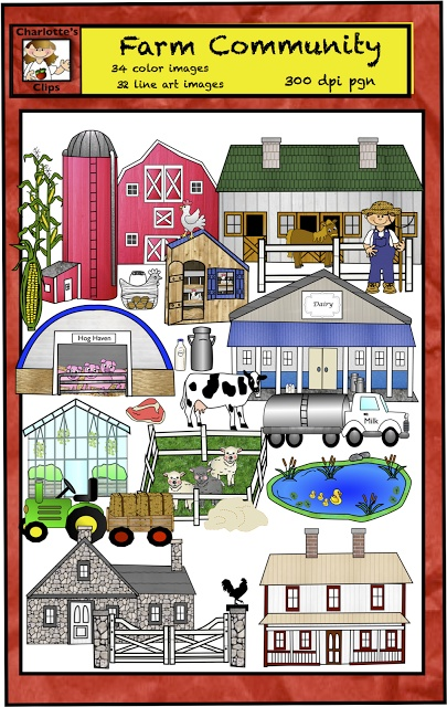 Farm Theme and Farm Clip Art By Charlotte's Clips - 64 piece value bundle includes farm structures, animals, products, and more... $ value priced item http://pinterest.com/kindkids/charlotte-s-clips/