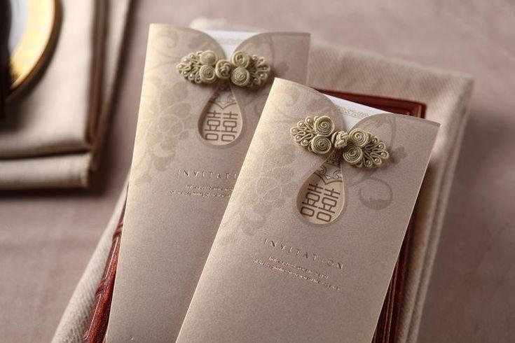 Champagne European Pearl Wedding Invitations Cards Vintage Hvfjnh 卡片 Pinterest Pocket Invitation Kits And