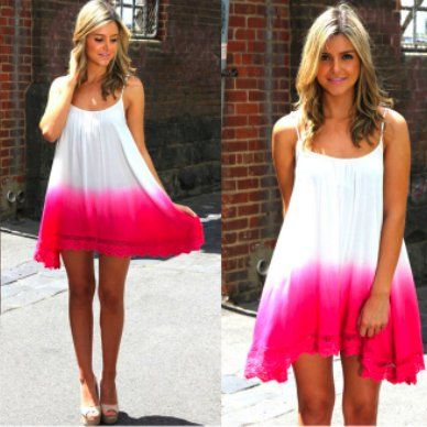 lexirose3's save of Sleeveless Pink Dipped Ombre Dress with Crochet Trim on Wanelo