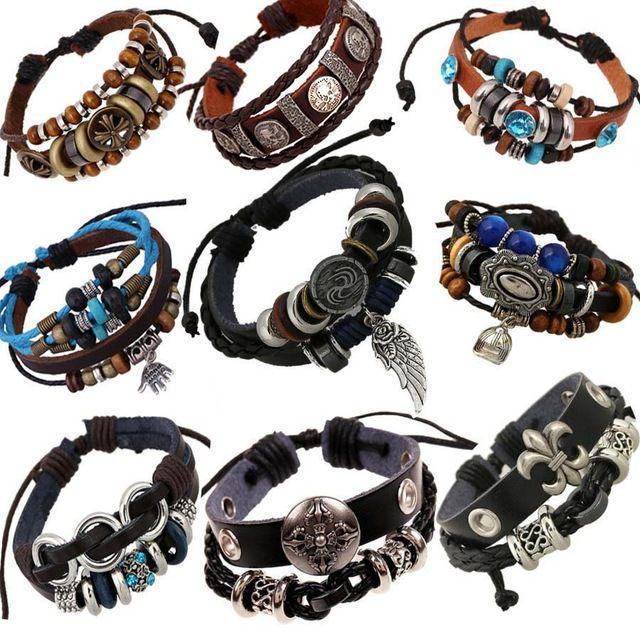 Винтаж веревка кожаные мужские браслеты кожа веревка ручной браслет для мужчин веревки плетеные браслет мужской женский браслет Ювелирных Изделий