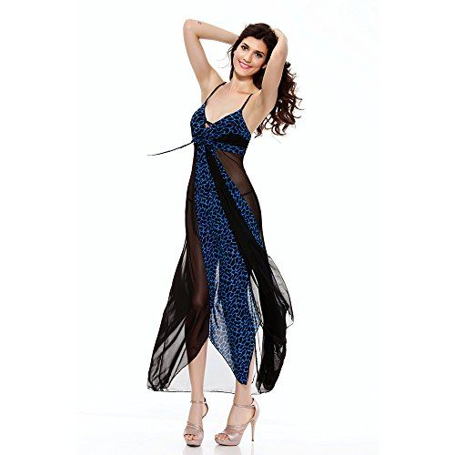 Mangotree Sexy Damen Durchsichtige Leoparden Maxi Disco Kleid Frauen Unterwäsche Lap-tanzen Club Dress Unterwäsche Negligee Reizwäsche (One size, Blau)