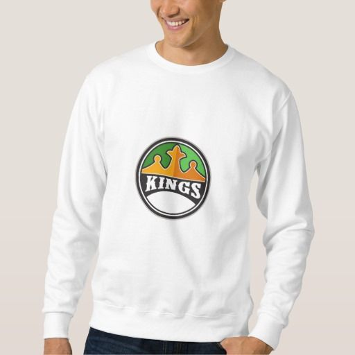 King Crown Kings Circle Retro Pullover Sweatshirt. Illustration of a king's crown with the word KINGS in it set on inside circle done in retro style. #Illustration #KingCrownKings