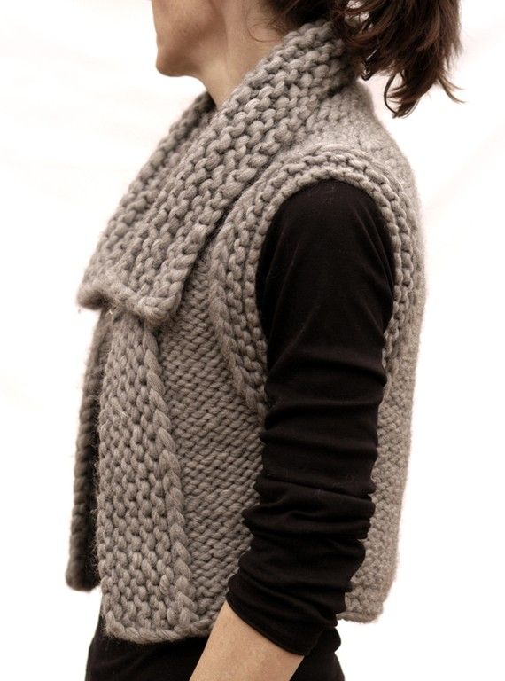 """This is a reverse stockinette stitch vest with the collar, front facings & armhole finishing worked in garter stitch.  This pattern is written with one set of numbers, the difference for the sizes is the gauge.  Gauge: for S/M 2 Sts & 3.25 rows = 1""""; for L 1.75 Sts & 2.5 rows in Stockinette Stitch S/M = 30-34"""" bust; L 35- 40"""" bust. Notes are included in the pattern for adjustments on larger sizes.  I used a #17 to obtain both gauges for the different sizes but a #15 or a #19 might be used…"""